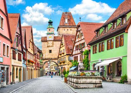 Belle vue sur la ville historique de Rothenburg ob der Tauber, Franconie, Bavière, Allemagne
