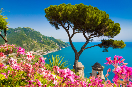 positano: Scenic picture-postcard view of famous Amalfi Coast with Gulf of Salerno from Villa Rufolo gardens in Ravello, Campania, Italy Stock Photo