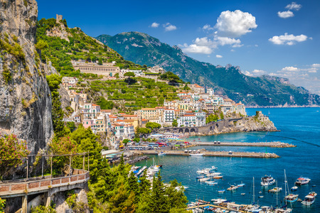 Scenic picture-postcard view of the beautiful town of Amalfi at famous Amalfi Coast with Gulf of Salerno, Campania, Italy photo