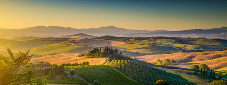 Scenic Tuscany landscape panorama with rolling hills and harvest fields in golden morning light, Val d Orcia, Italy