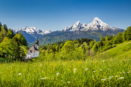 berchtesgaden: Beautiful mountain landscape in the Bavarian Alps with pilgrimage church of Maria Gern and Watzmann massif in the background, Nationalpark Berchtesgadener Land, Bavaria, Germany