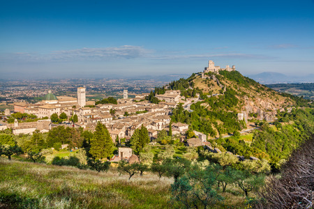 Historic town of Assisi in beautiful morning light, Umbria, Italy