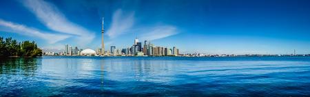 Toronto skyline waterfront panorama from Centre Island, Ontario, Canada Stock Photo