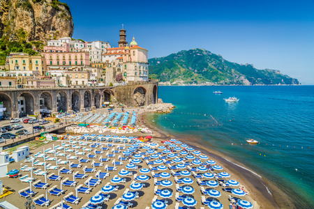 azure coast: Scenic picture-postcard view of the beautiful town of Atrani at famous Amalfi Coast with Gulf of Salerno, Campania, Italy Stock Photo