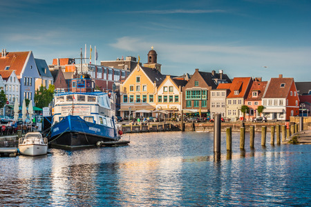 Beautiful view of the old town of Husum, the capital of Nordfriesland and birthplace of German writer Theodor Storm, in Schleswig-Holstein, Germany