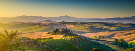 Scenic Tuscany landscape panorama with rolling hills and harvest fields in golden morning light, Val d Orcia, Tuscany, Italy