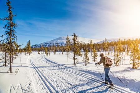 Panoramic view of male person cross-country skiing in Scandinavia in golden evening light at sunset