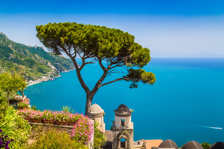 amalfi: Scenic picture-postcard view of famous Amalfi Coast with Gulf of Salerno from Villa Rufolo gardens in Ravello, Campania, Italy Stock Photo