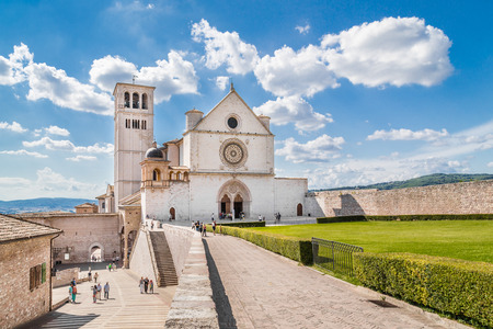 st  francis: Famous Basilica of St. Francis of Assisi on a sunny day in Assisi, Umbria, Italy