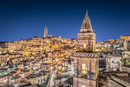 sassi: Ancient town of Matera at dusk, Basilicata, southern Italy