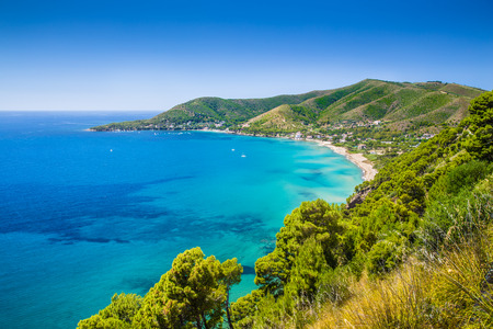 Panoramic view of beautiful coastal landscape at the Cilentan Coast, province of Salerno, Campania, southern Italy