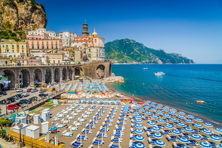 mediterranean coast: Scenic picture-postcard view of the beautiful town of Atrani at famous Amalfi Coast with Gulf of Salerno, Campania, Italy Stock Photo
