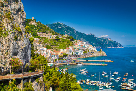 italian village: Scenic picture-postcard view of the beautiful town of Amalfi at famous Amalfi Coast with Gulf of Salerno, Campania, Italy