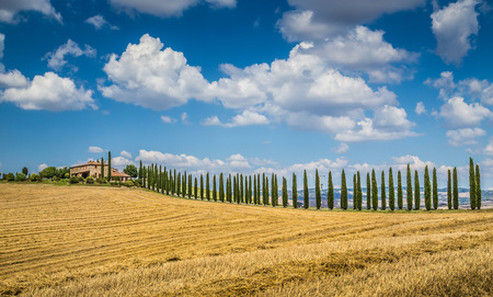 val d      orcia: Beautiful Tuscany landscape with traditional farm house and dramatic clouds on a sunny day in Val d Orcia, Tuscany, Italy Stock Photo