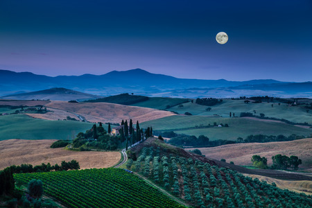 luz de luna: Paisaje escénico de la Toscana, con colinas y valles en la hermosa luz de la luna rodando en la madrugada, Val d'Orcia, Toscana, Italia