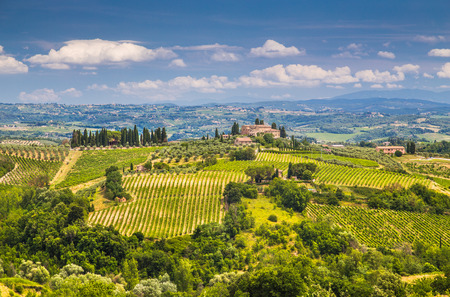 Scenic Tuscany landscape with rolling hills and valleys in Val d Orcia, Tuscany, Italy Stock Photo