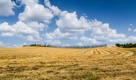 farm house: Beautiful Tuscany landscape with traditional farm house and dramatic clouds on a sunny day in Val d