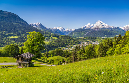 일출 배경, 국립 공원 Berchtesgadener 토지, 바바리아, 독일 베르 히 테스가 덴과 Watzmann 대산 괴의 마을 바이에른 알프스 아름 다운 산 풍경