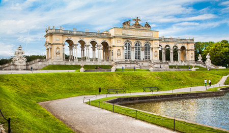the gloriette: Beautiful view of famous Gloriette at Schonbrunn Palace and Gardens in Vienna, Austria