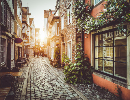 cobbled: Old town in Europe at sunset