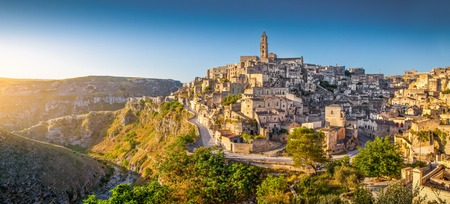 Panoramic view of ancient town of Matera at sunrise, Basilicata, southern Italy