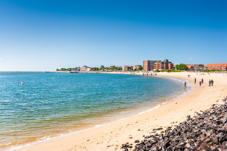 schleswig holstein: Beautiful beach landscape on the island of Foehr, the second-largest German North Sea island and a popular destination for tourists, in Schleswig Holstein, North Sea, Germany Stock Photo