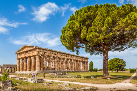 Temple of Hera at famous Paestum Archaeological UNESCO World Heritage Site, which contains some of the most well-preserved ancient Greek temples in the world, Province of Salerno, Campania, Italy Фото со стока - 37347634