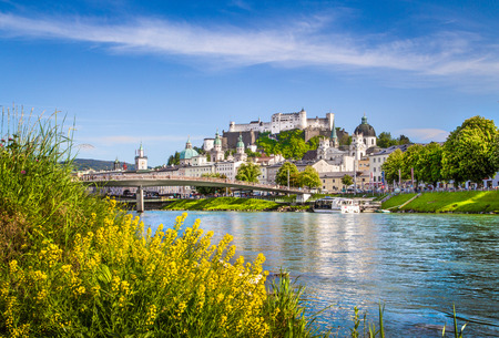 Beautiful view of Salzburg skyline with Festung Hohensalzburg and Salzach river in summer, Salzburg, Salzburger Land, Austria