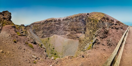 craters: Panoramic view of famous Mount Vesuvius crater on a sunny day in Naples, Campania, Italy Stock Photo