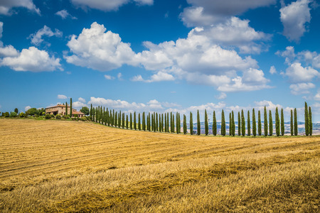 val d'orcia: Beautiful Tuscany landscape with traditional farm house and dramatic clouds on a sunny day in Val d Orcia, Tuscany, Italy Stock Photo