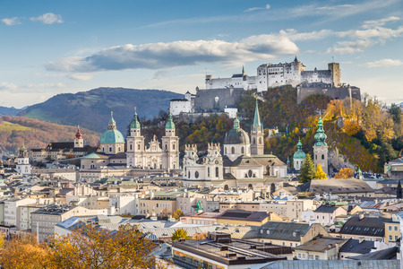 salzach: Aerial view of the historic city of Salzburg with Hohensalzburg Fortress in beautiful evening light in fall, Salzburger Land, Austria