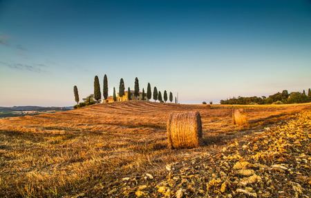 val d      orcia: Beautiful Tuscany landscape with traditional farm house and hay bales in golden evening light, Val d Orcia, Italy Stock Photo