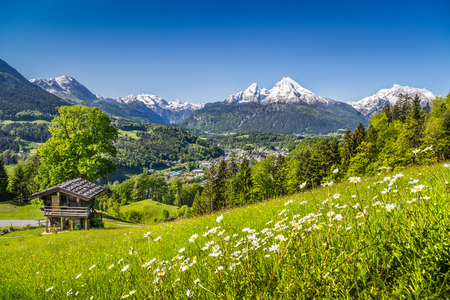 Idyllic summer landscape in the Alps with old mountain chalet photo