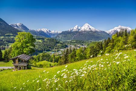 Paysage d'été idyllique dans les Alpes avec le vieux chalet de montagne