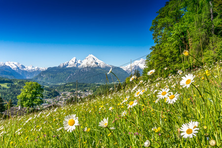 Idyllic landscape in the Alps with fresh green mountain pastures in springtime Stock Photo
