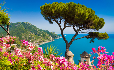 holiday villa: Scenic picture-postcard view of famous Amalfi Coast with Gulf of Salerno from Villa Rufolo gardens in Ravello, Campania, Italy Stock Photo