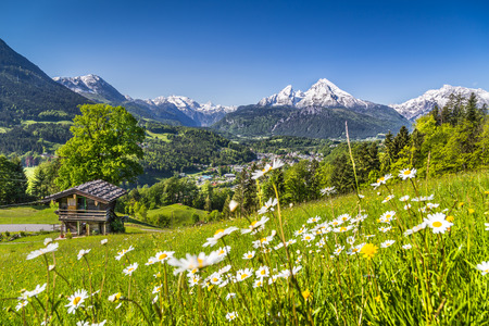 austrian village: Idyllic landscape in the Alps with traditional mountain chalet in springtime Stock Photo