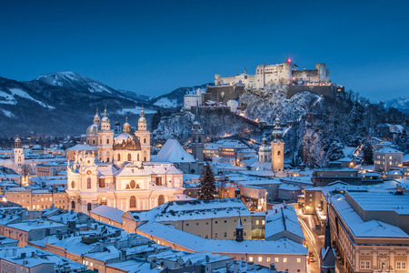 of mozart: Beautiful view of the historic city of Salzburg with Festung Hohensalzburg in winter, Salzburger Land, Austria