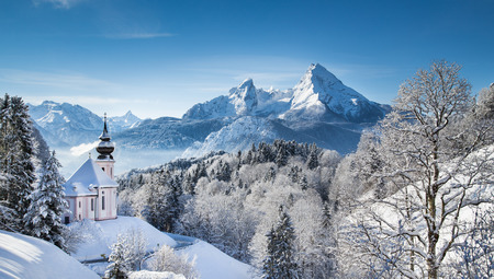 pilgrimage: Panoramic view of beautiful winter landscape in the Bavarian Alps with pilgrimage church of Maria Gern and famous Watzmann massif in the background, Nationalpark Berchtesgadener Land, Bavaria, Germany