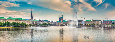 Panoramic view of famous Binnenalster in golden evening light at sunset, Hamburg, Germany