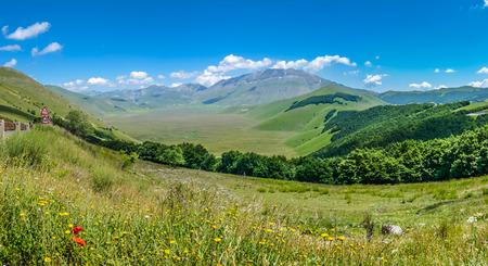 abruzzo: Beautiful summer landscape at Piano Grande Great Plain mountain plateau in the Apennine Mountains, Castelluccio di Norcia, Umbria, Italy