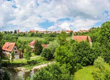 bayern old town: Beautiful view of the historic town of Rothenburg ob der Tauber skyline, Franconia, Bavaria, Germany