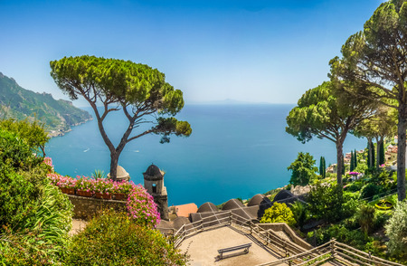 Scenic picture-postcard view of famous Amalfi Coast with Gulf of Salerno from Villa Rufolo gardens in Ravello, Campania, Italy Foto de archivo