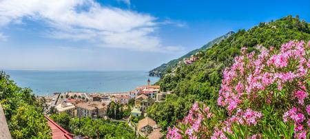 amalfi: Scenic picture-postcard view of famous Amalfi Coast with beautiful Gulf of Salerno, Campania, Italy