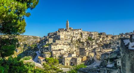 italian village: Ancient town of Matera Sassi di Matera at sunset, Basilicata, southern Italy Stock Photo