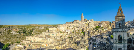 sassi: Ancient town of Matera Sassi di Matera at sunset, Basilicata, southern Italy Stock Photo