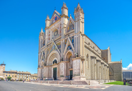 gothic church: Panoramic view of Cathedral of Orvieto Duomo di Orvieto, Umbria, Italy