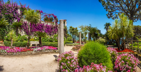 azure coast: Scenic picture-postcard view of famous Villa Rufolo gardens in Ravello at Amalfi Coast with Gulf of Salerno, Campania, Italy
