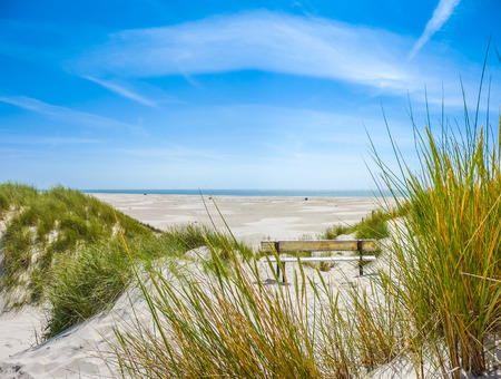 Beautiful dune landscape and long beach on the island of Amrum at North Sea, Schleswig-Holstein, Germany