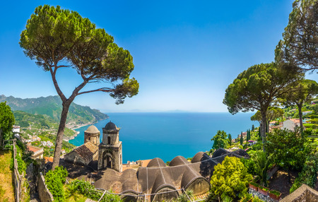 amalfi: Scenic picture-postcard view of famous Amalfi Coast with Gulf of Salerno from Villa Rufolo gardens in Ravello, Campania, Italy Stock Photo